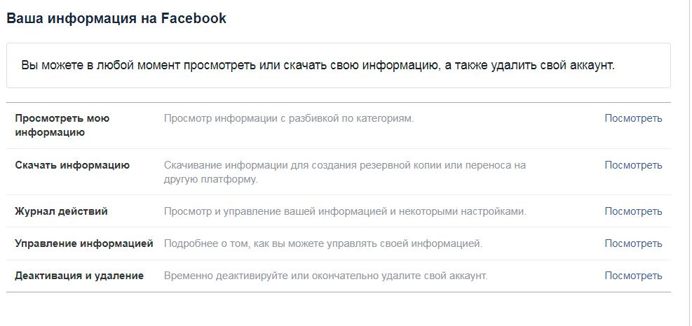Деактивация или удаление аккаунта facebook