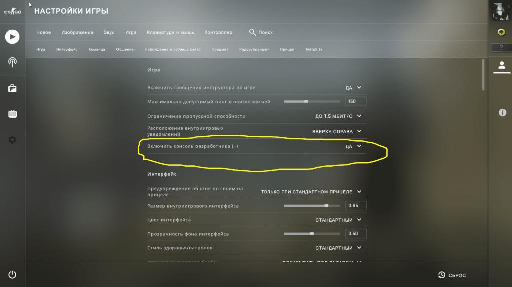 Как включить консоль разработчика в CS GO