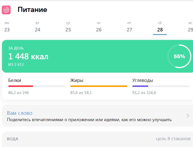 Питание вконтакте